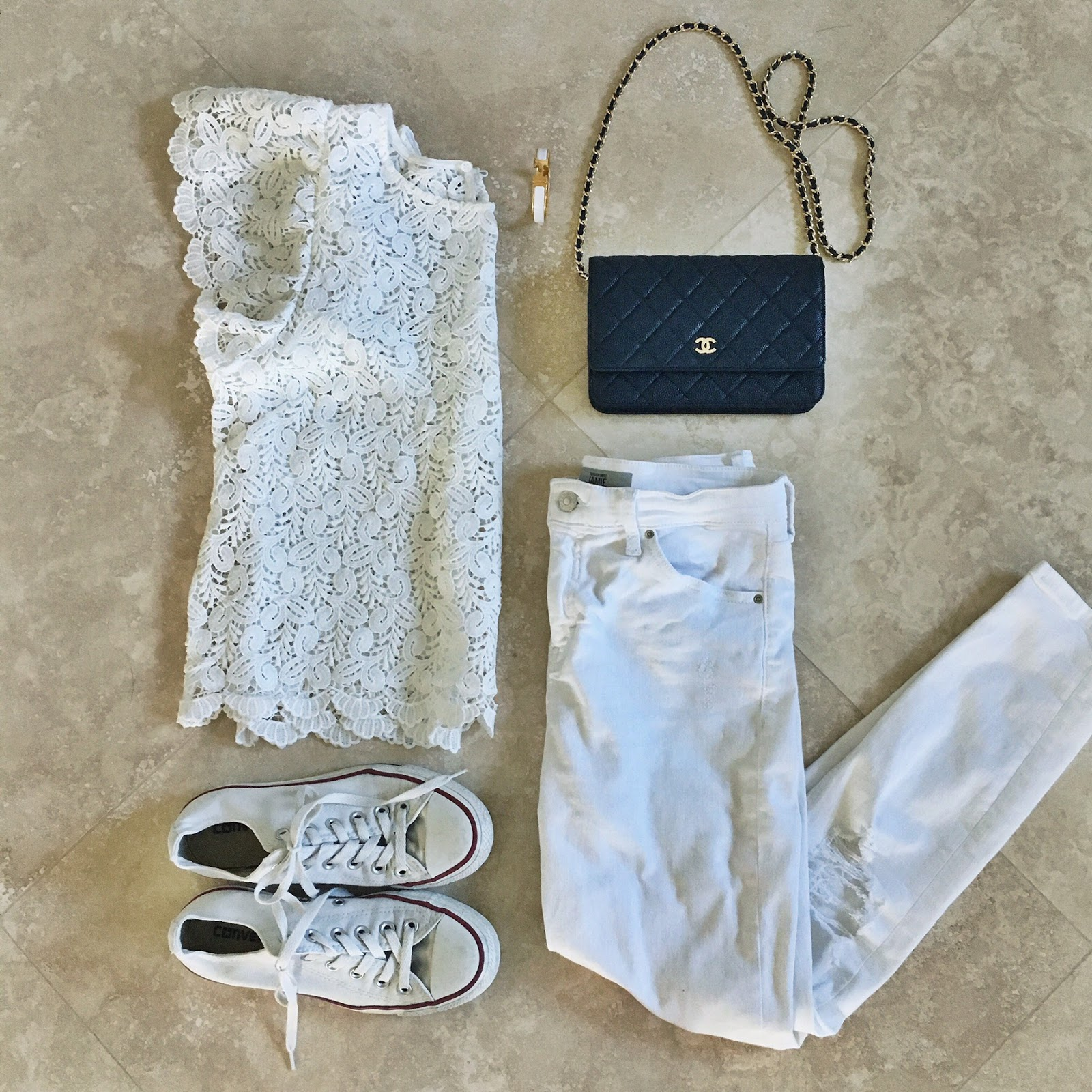 white lace flutter top outfit