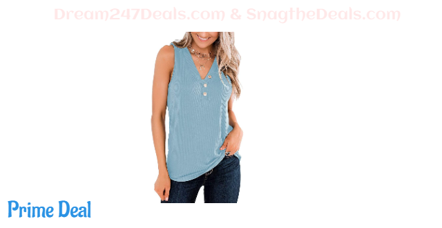 Womens V Neck Buttons Tank 50% off