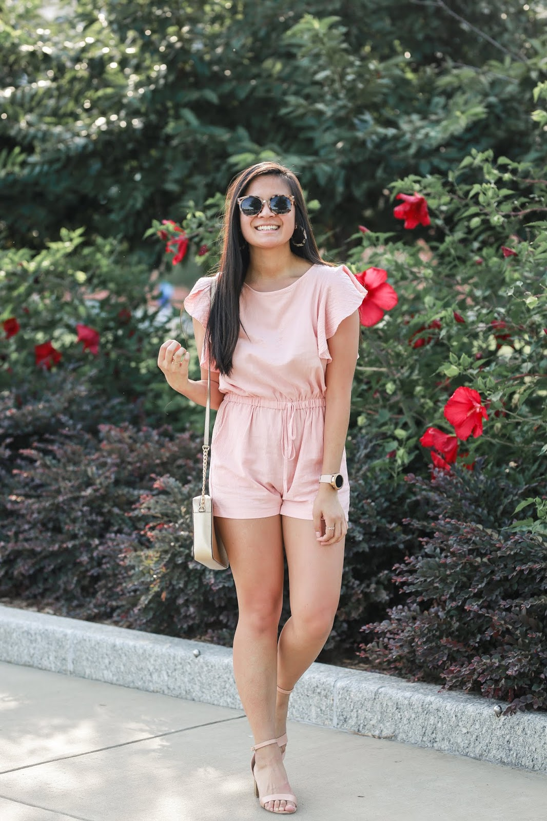 Blush Pink Ruffle Sleeved Romper - Amazon Prime Fashion Find
