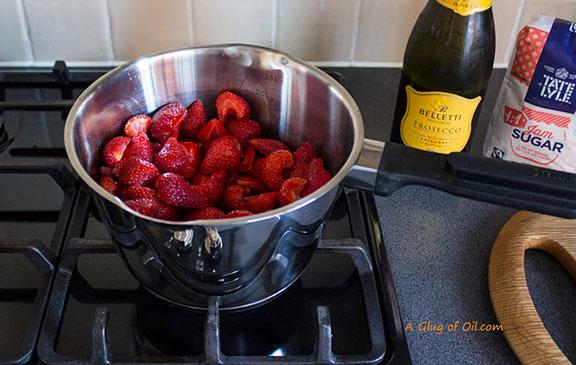 Making Jam - strawberries and sugar in a saucepan