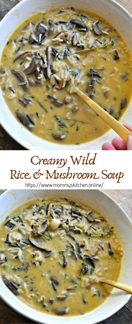 Creamy Wild Rice & Mushroom Soup #vegan #recipevegetarian