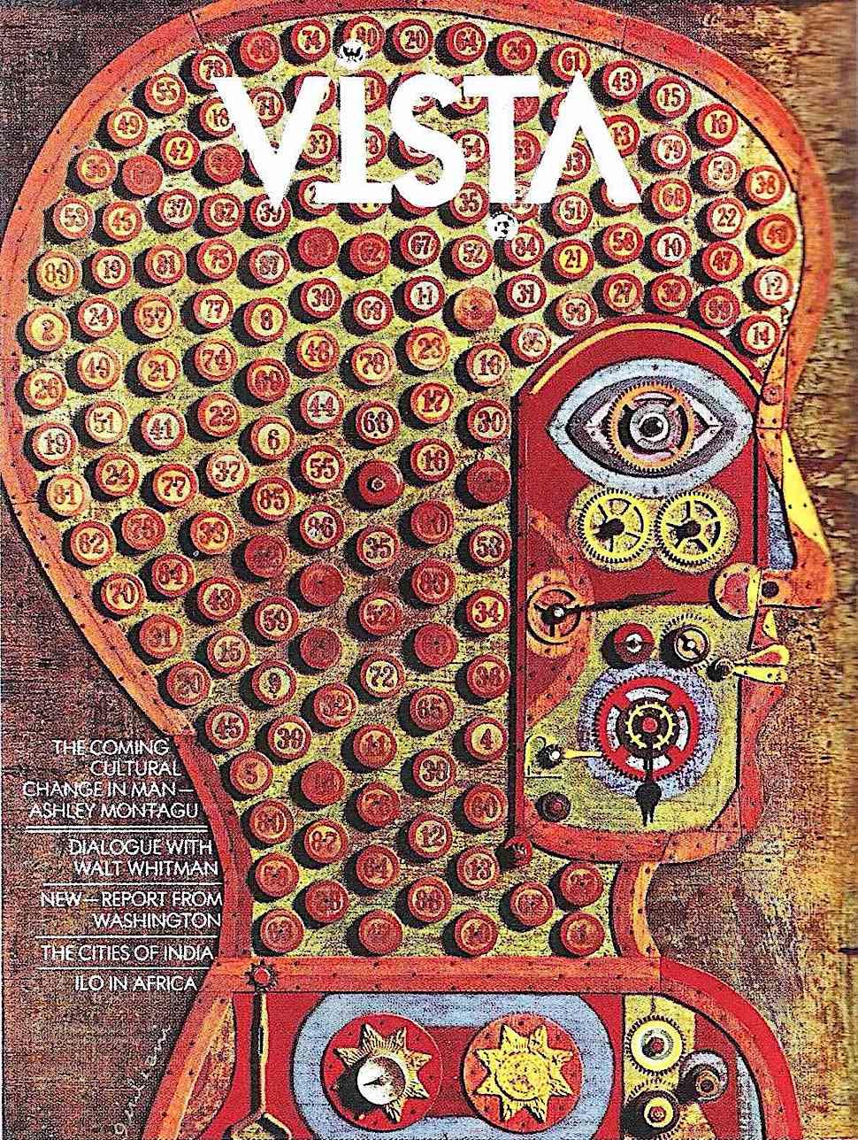 a 1960s Vin Guliani illustration of a human head in profile for Vista magazine
