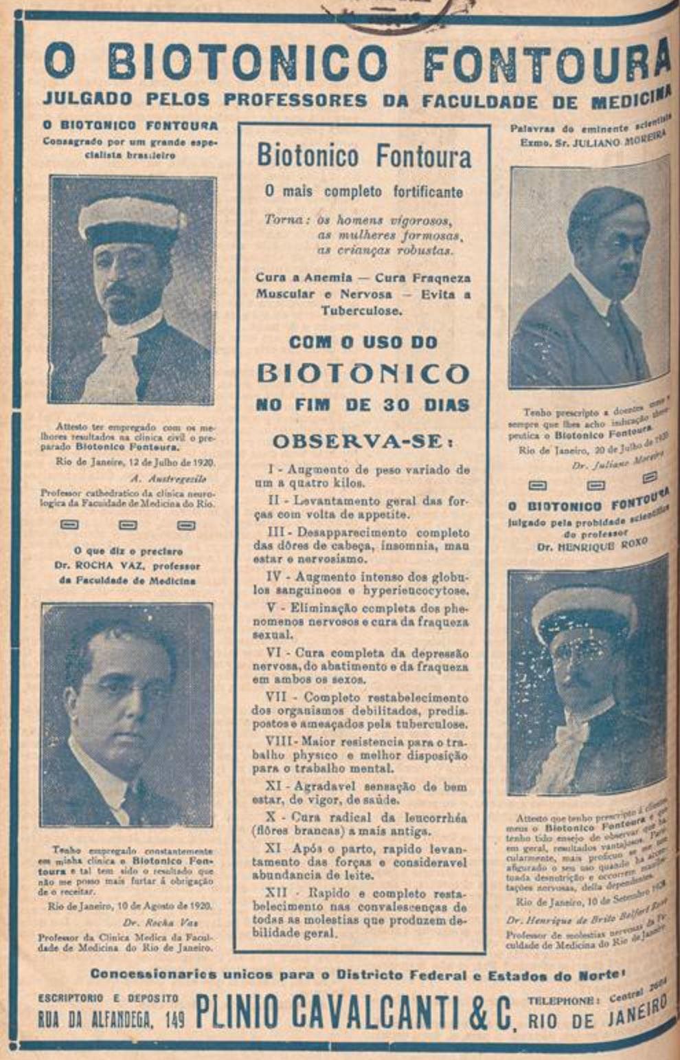 Anúncio antigo do Biotônico Fontoura com endosso de professores da faculdade de medicina em 1922