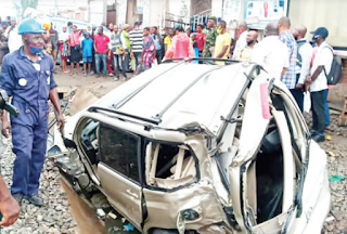 Lagos train crushes man to death while attempting to save son in SUV