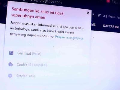 """Notifikasi """"Sambungan ke situs ini tidak aman"""""""
