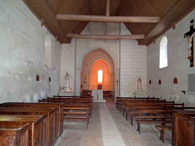 Interior of Saint Martin's Church, Marce sur Esves.  Indre et Loire, France. Photographed by Susan Walter. Tour the Loire Valley with a classic car and a private guide.