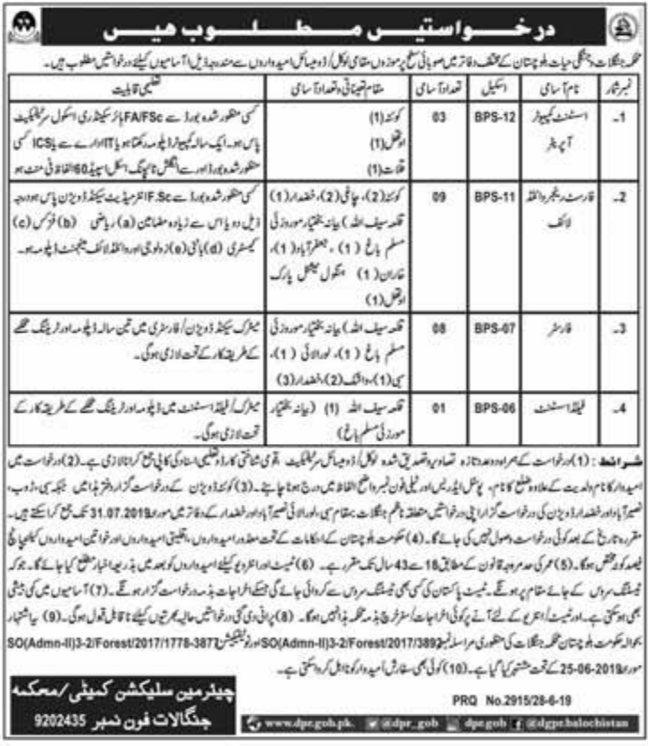 Advertisement for Forest and Wildlife Department Balochistan Jobs