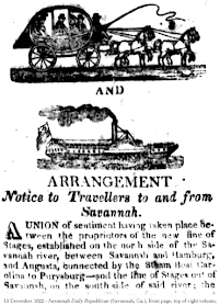 Advertisement, 13 December 1822 - Savannah Daily Republican (Savannah, Ga.), front page, top of right column.