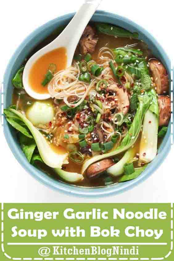 4.8★★★★★ | Ginger Garlic Noodle Soup with Bok Choy is a nutritious, comforting, and flu-fighting twenty-minute recipe made with homemade vegetarian broth, noodles, mushrooms, and baby bok choy. Easily make it your own by adding chicken, shrimp, spicy chilis, or other veggies. #GingerGarlic #NoodleSoup #BokChoy