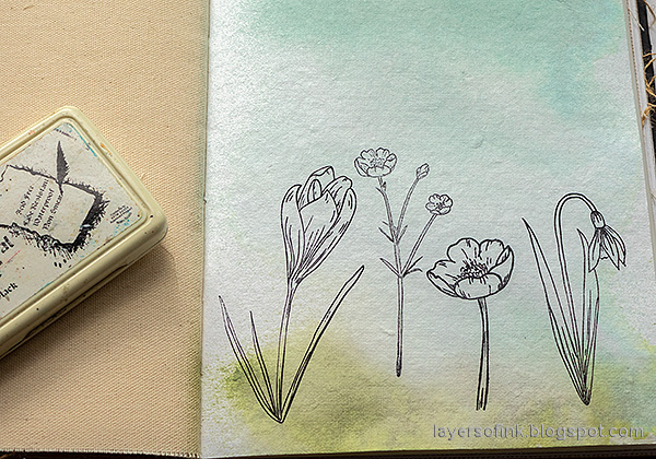 Layers of ink - Thoughtful Flowers Watercolor Garden Tutorial by Anna-Karin Evaldsson. Stamp Thoughtful Flowers.