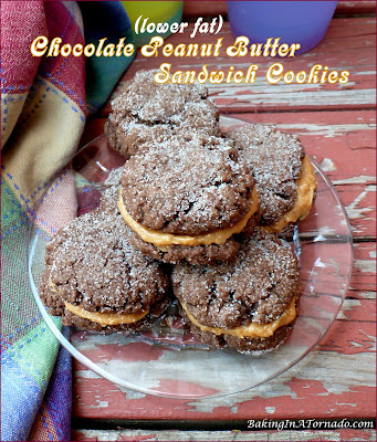 Chocolate Peanut Butter Sandwich Cookies are quick and easy (they start with a mix) and lower in fat but high in chocolatey flavor. | Recipe developed by www.BakingInATornado.com | #recipe #cookies