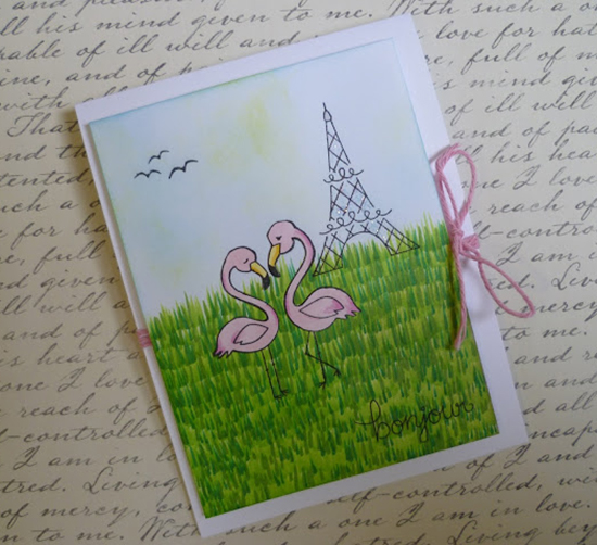 Flamingo Paris Love card by Dawn | Flirty Flamingos stamp set by Newton's Nook Designs #newtonsnook
