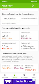 Screenshot aus der App AccuBattery