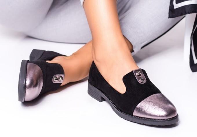Pantofi casual dama ieftini moderni din piele naturala, eco, lacuiti, cu talpa groasa