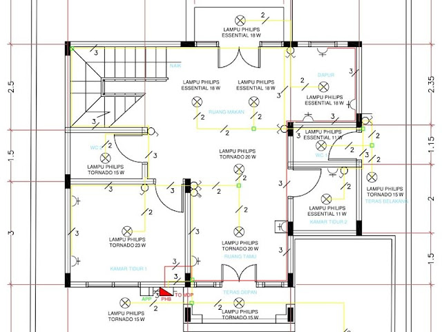 Gambar Perencanaan Instalasi Listrik Rumah Bertingkat Dua Lantai