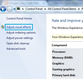 Control Panel Performance Information and Tool