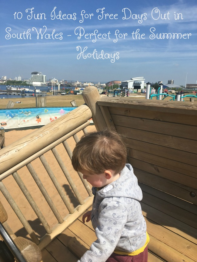 10-Ideas-for-Free-Days-Out-in-South-Wales-perfect-for-the-Summer-Holidays-text-over-image-of-toddler-playing-at-Cardiff-Bay-Barrage-playground