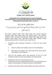 Aktiviti Di Masjid Dan Surau Ketika Perintah Kawalan Pergerakan Pemulihan (PKPP) Bagi Negeri Sabah