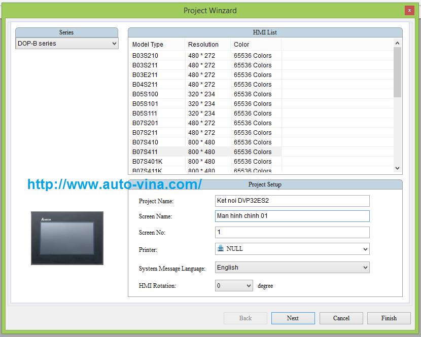 Hướng dẫn chọn Model lập trình cho màn hình cảm ứng HMI Delta