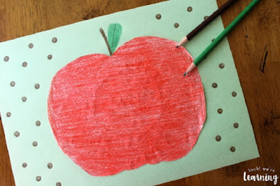 Coffee Filter Apple Craft by Look! We're Learning!