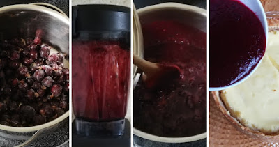 Cheesecake mit Marzipanboden und Jostabeeren - Zubereitung Jostabeer-Spiegel