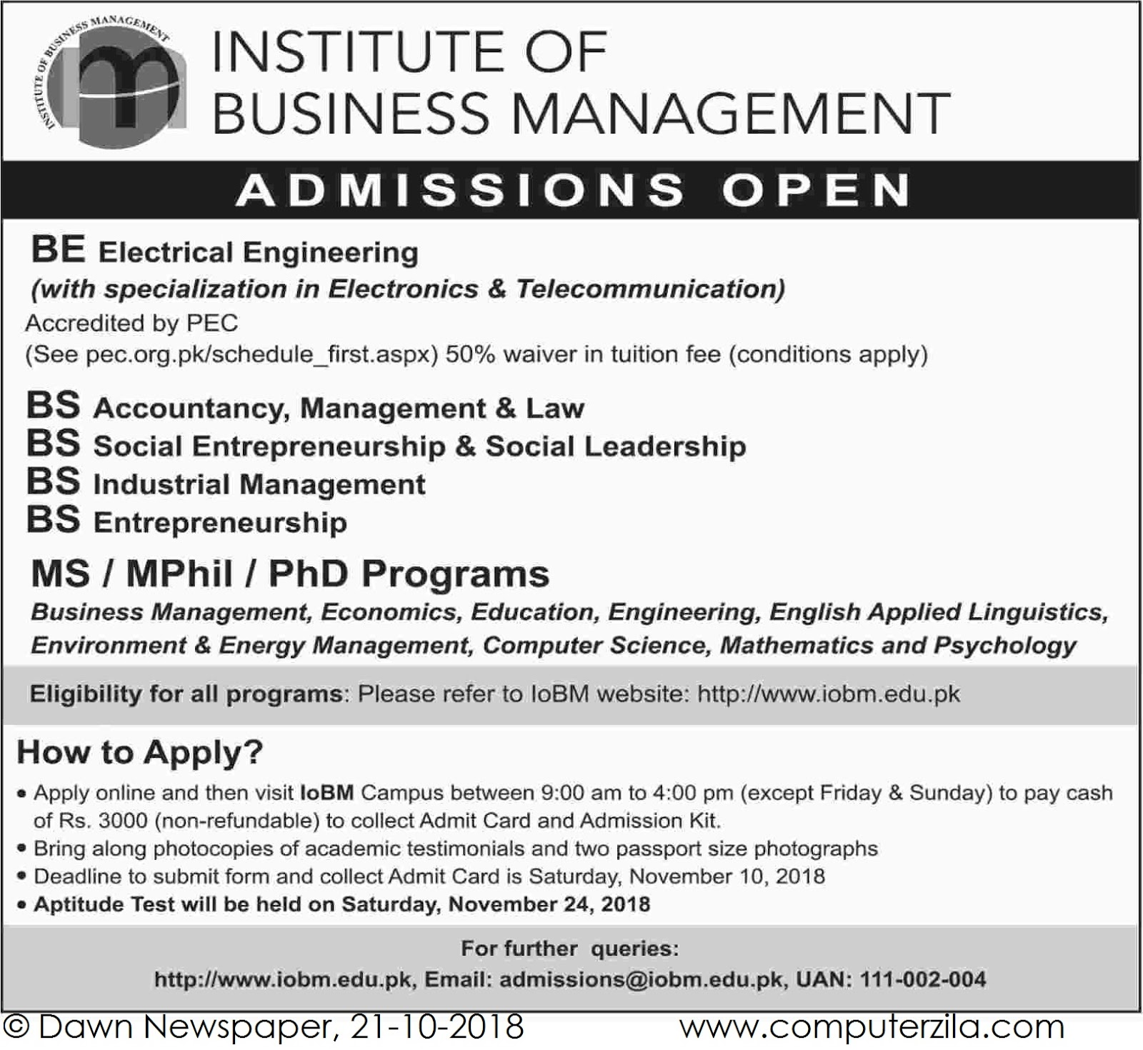 Admissions Open For Spring 2019 At IoBM Karachi Campus