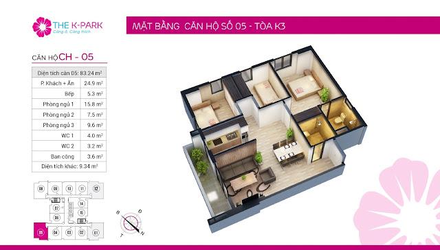 Thiết kế căn hộ 05 loại 3 ngủ