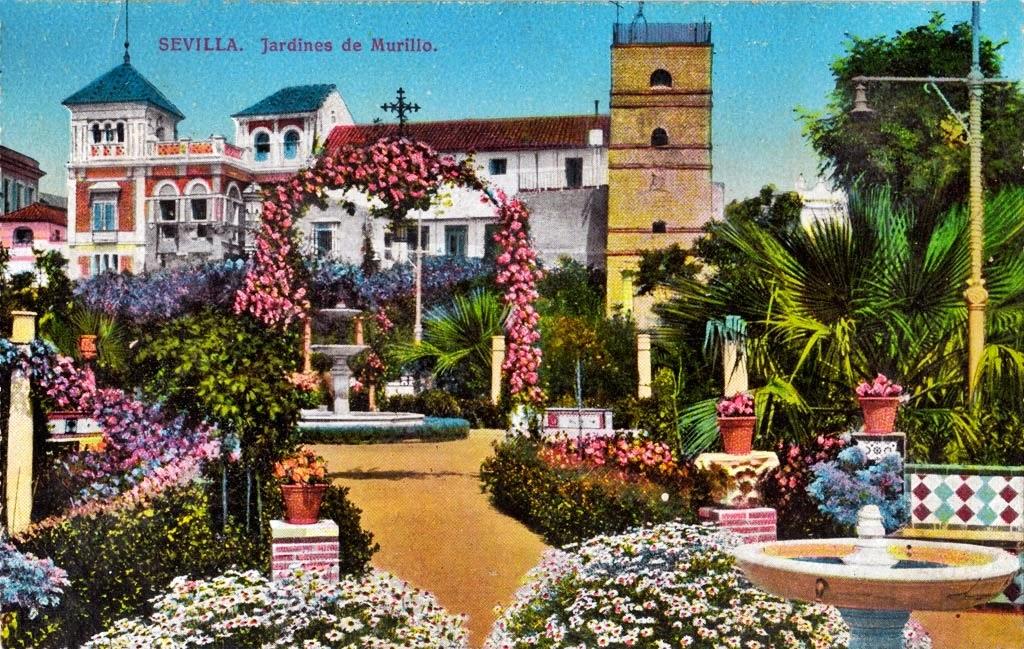 Postales antiguas de andaluc a jardines de murillo sevilla for Jardines verticales sevilla