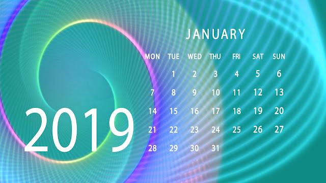 Kalender met de maand januari in 2019