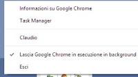 Disattivare Chrome in esecuzione in background