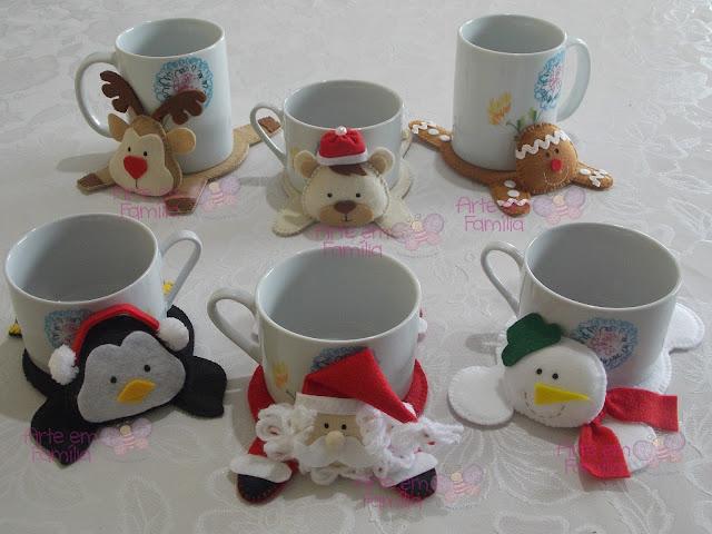 tapetinhos de caneca para o natal, tem papai noel, rena, pinguim, ursinho, boneco de neve e biscoito ginger.