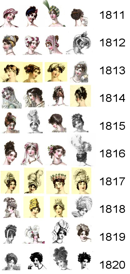 Headdresses and hairstyles for Regency evenings