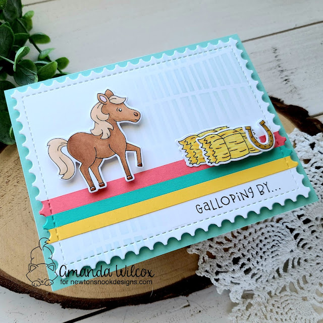 Galloping By Card by Amanda Wilcox | Neigh Stamp Set, Moo Stamp Set, Serene Stripes Stencil and Framework Die Set by Newton's Nook Designs #newtonsnook #handmade