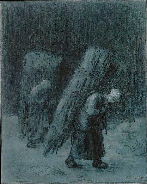 Жан Франсуа Милле - Женщины, несущие вязанки. 1858