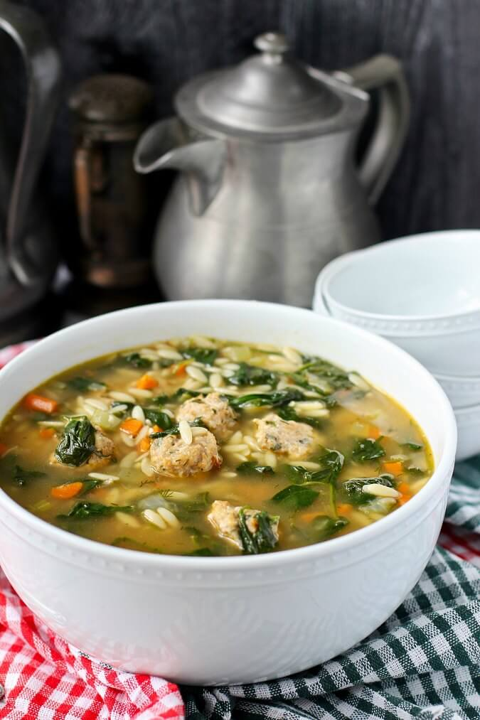 Italian Wedding Soup in a serving bowl