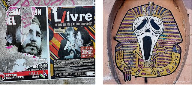 Cartazes e grafites em Roma, Itália
