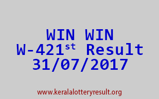 WIN WIN Lottery W 421 Results 31-7-2017