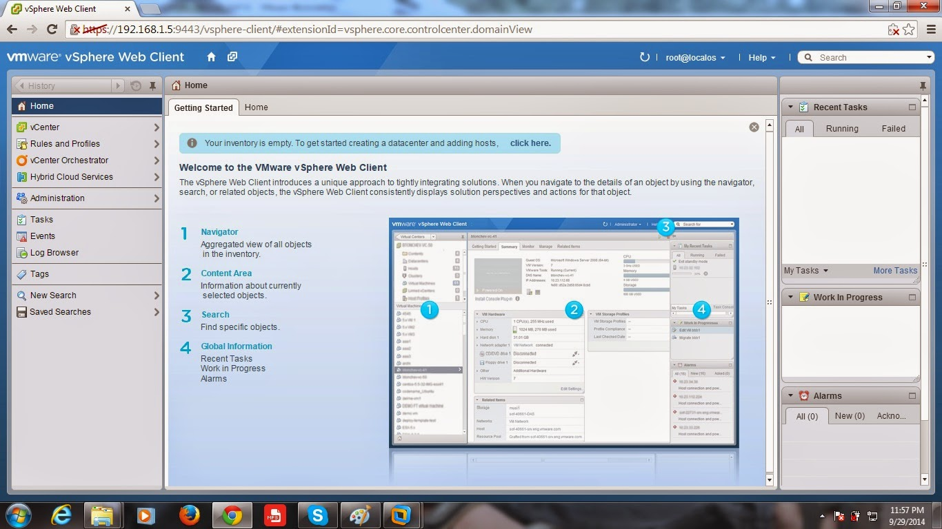 Access and Configure lab setup in vCenter server using Web