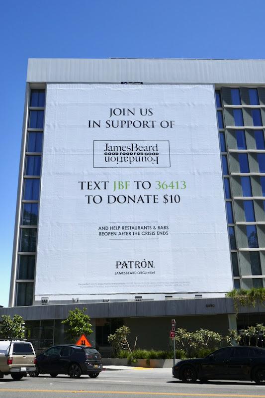 Patron Tequila James Beard COVID19 relief fund billboard