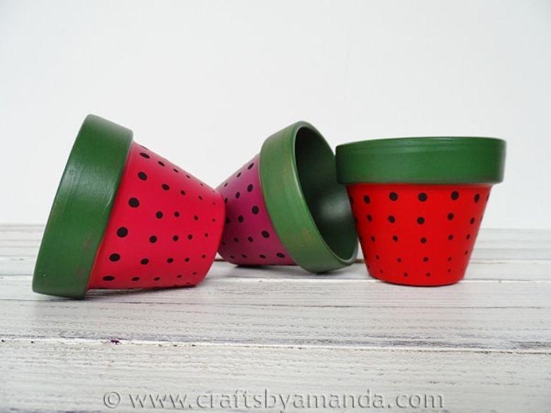 strawberry flower pot painting ideas