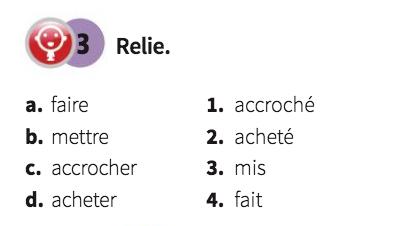 Passé composé - połącz imiesłowy czasu przeszłego z ich bezokolicznikami - Francuski przy kawie