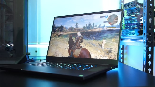 Gaming on the Razer Blade Pro 17 laptop.