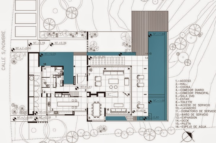 Ground floor plan of Modern Agua House by Barrionuevo Sierchuk Arquitectas
