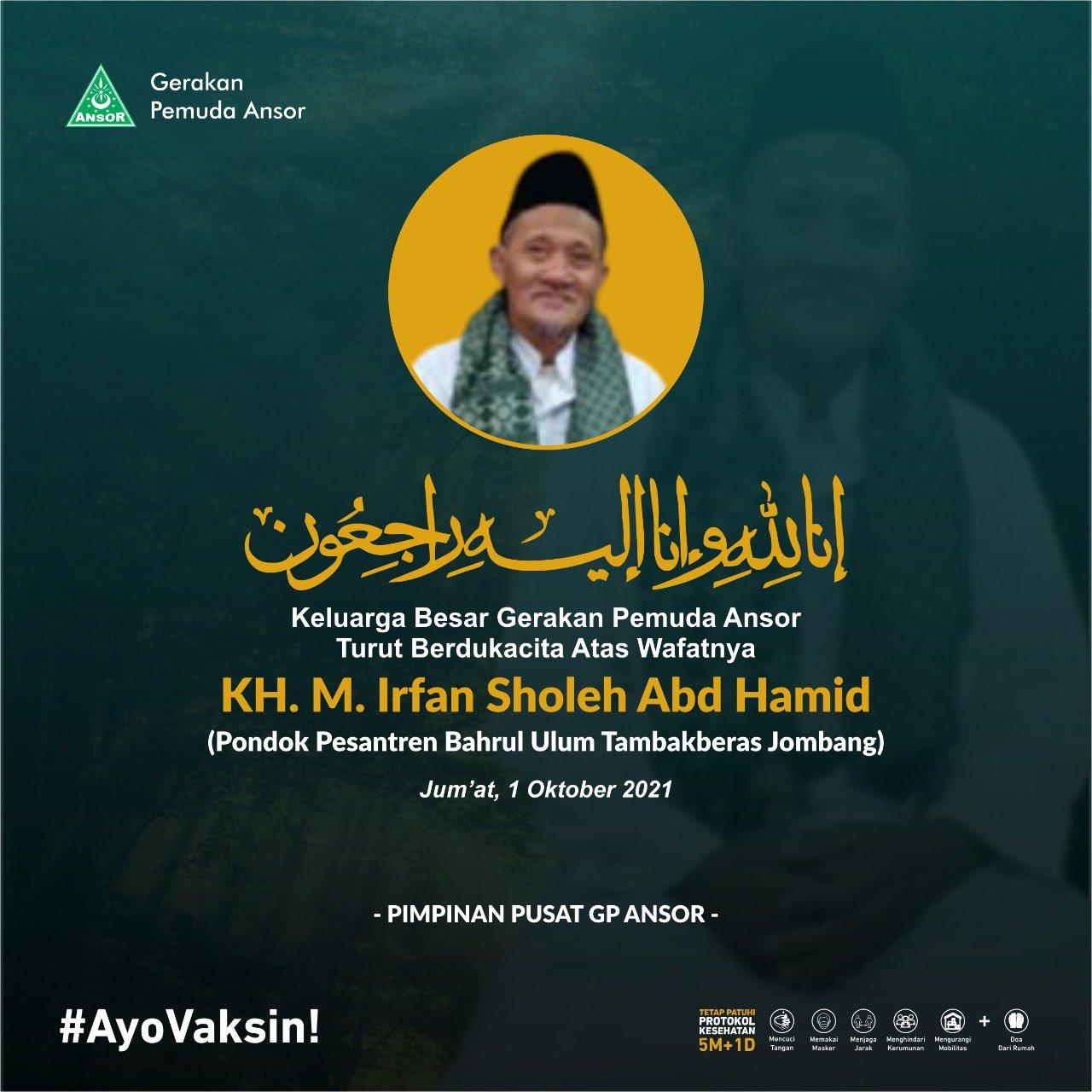 Berita Duka, KH. M. Irfan Sholeh Abd Hamid