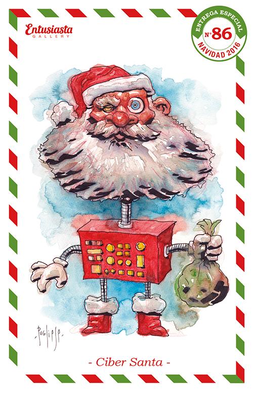 Papá Noel modelo robot cibernético. Acuarela.