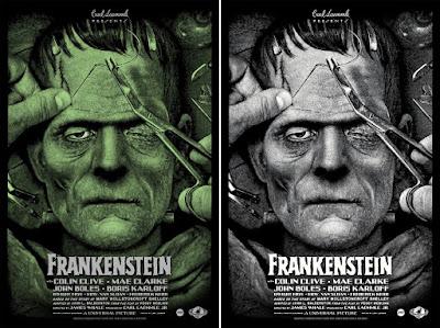 Universal Monsters Frankenstein Screen Print by Elvisdead x Mondo