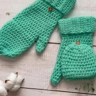 Mitones reversibles a Crochet