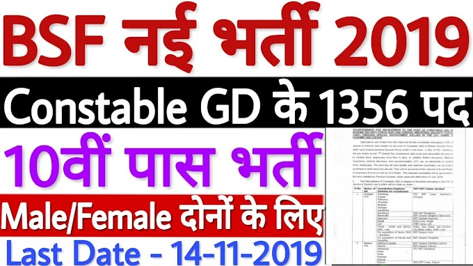 BSF Recruitment 2019 - 1356 Constable (GD) Posts Apply now