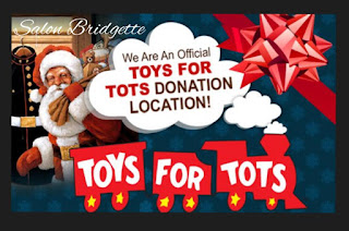 Salon Bridgette is an official Toys for Tots Donation Location