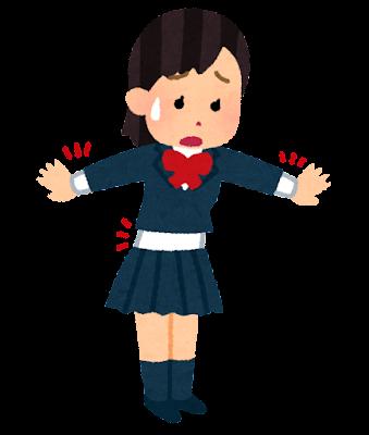 丈の短い学生服を着た女の子のイラスト